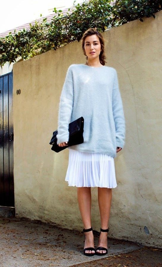 pastel-blue-sweater-white-pleated-skirt-knee-skirt-black-andkle-strap-heels-black-clutch-work-out-shower-via-thechroniclesofher.blogspot.com