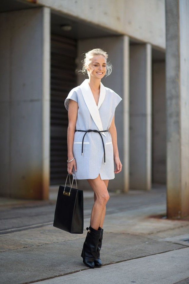 pastel-blue-wrap-dress-blazer-dress-belt-black-ankle-boots-booties-and-dresses-via-hbz