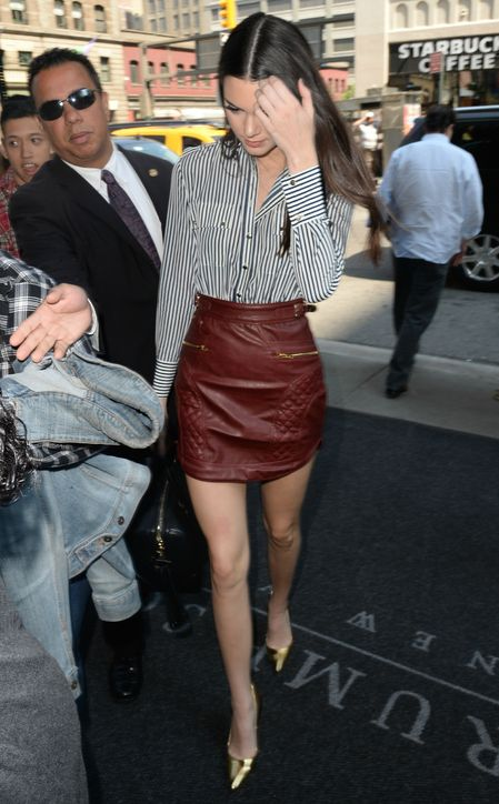 red-leather-mini-skirt-striped-oxford-shirt-kendall-jenner-night-out-going-out-via-glamour