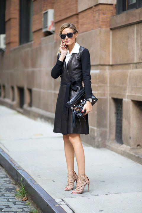 robe-wrap-dress-mixed-materials-shirt-under-dress-cage-heels-olivia-palermo-via-hbz