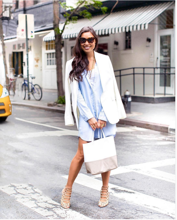 shirt dress-shirtdress-white blazer-cage sandals-spring work outfit-
