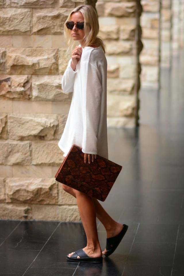spring-style-white-dress-slides-oversized-clutch-python-clutch-via-whowhatwear