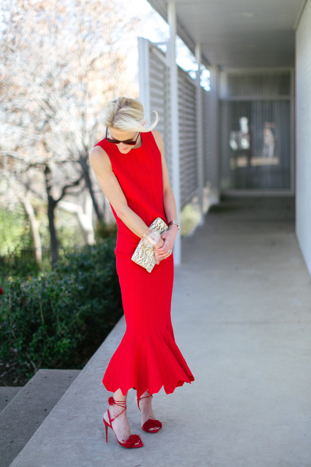 what to wear to a spring engagement party, red dress