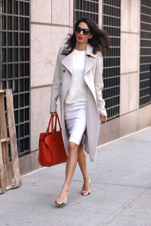 spring-work-all-white-pencil-skirt-khaki-coat-printed-heels-amal-clooney-via-hbz
