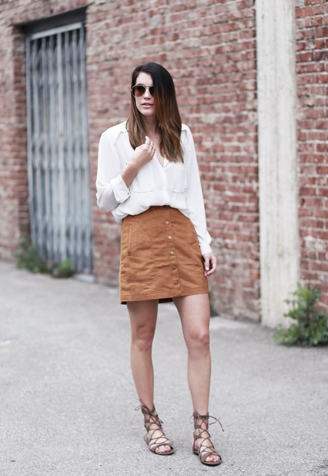 suede-skirt-gladiator-sandals-button front skirt, white blouse, summer flall spring neutrals, tan skirt