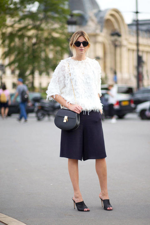 texture-mules-chloe-bag-black-and-white-spring-trends-via-hbz, bermuda shorts, textured top, feathered top, fringe, frayed, black and white, spring, summer, fall