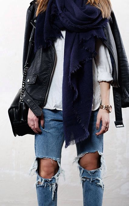 weekend-fall-spring-ripped-jeans-white-oxford-black-leather-moto-jacket-navy-scarf-via-theyallhateus