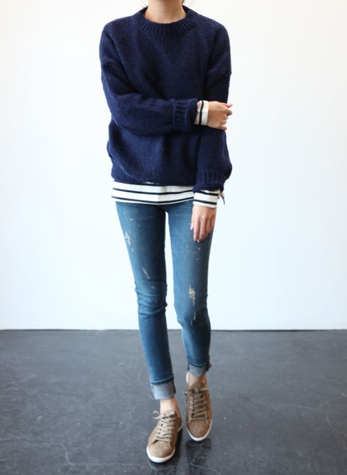 weekend-layers-stripes-sweater-cuffed-jeans-sneakers-classic-preppy-via-death-by-elocution.tumblr.com