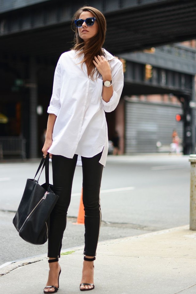 weekend-night-out-going-out-date-night-white-oxford-black-skinnies-heels-black-and-white-via-fashion vibe