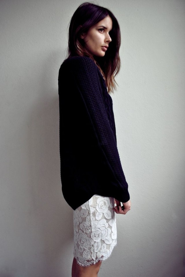 white-lace-pencil-skirt-black-sweater-black-and-white-spring-work-via-harperandharley.com