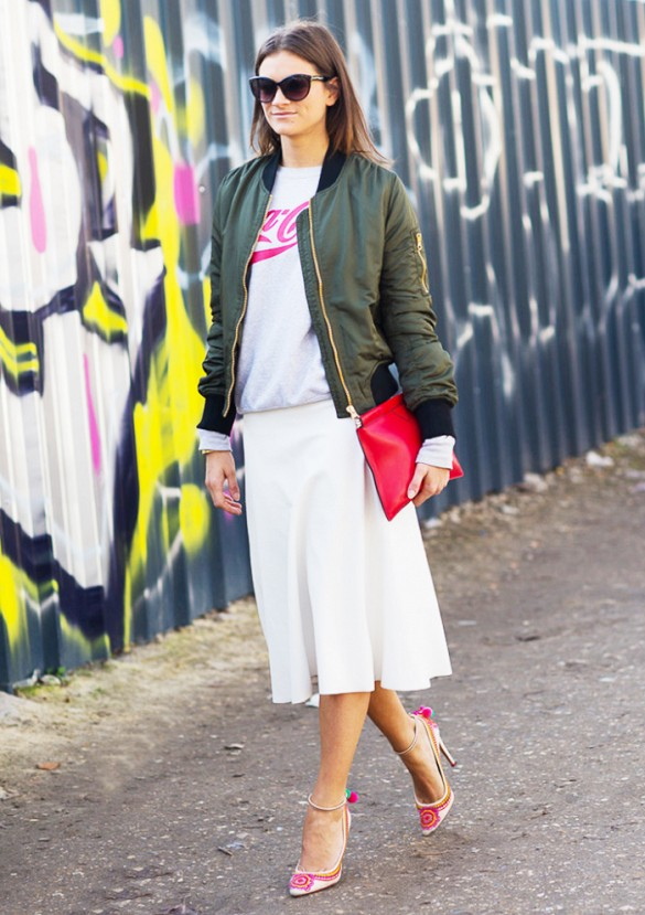 white-midi-skirt-army-green-bomber-jacket-baseball-jacket-statement-heels-sweatshirt-graphic-sweatshirt-cococola-red-clutch-work-spring-sweatshirt-work-via-gastrochic