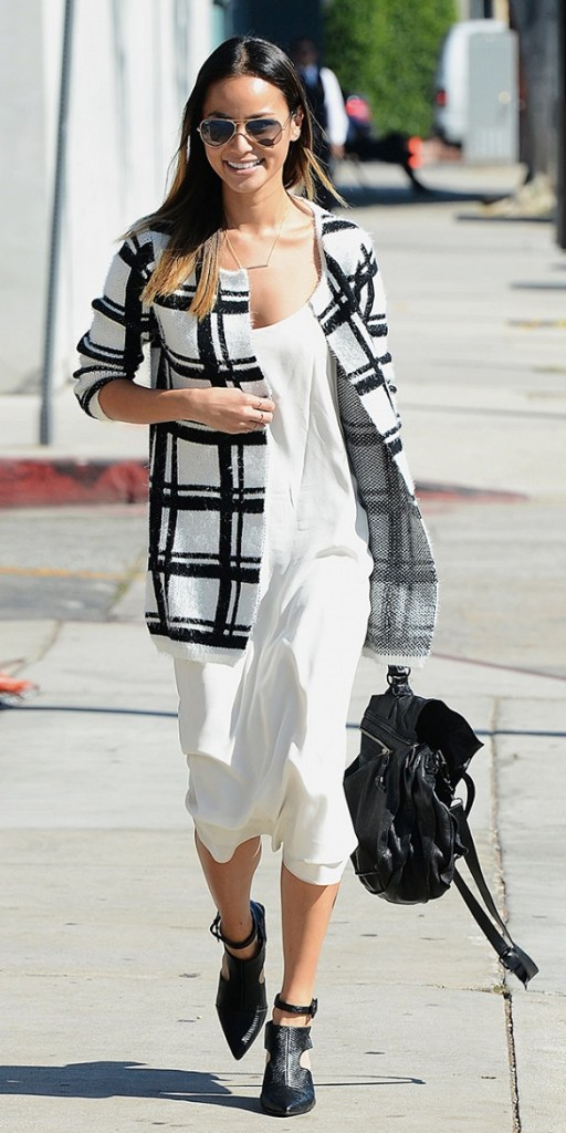 windowpane-prints-black-and-white-fall-whites-slipdress-summer-dresses-into-fall-jamie-chung-pointy-toe-ankle-boots-cutout-ankdle-boots-backpacck-jacket-fall-via-splash-news-via-whowhatwear