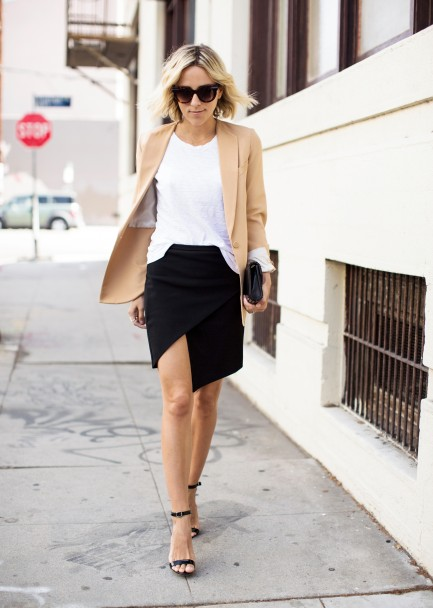 work-spring-wrap-skirt-black-and-white-camel-blazer-blogger-style-damsel-in-dior