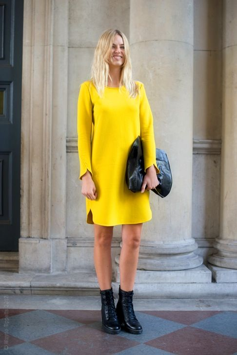 yellow-dress-date-work-spring-black-boots-via-www