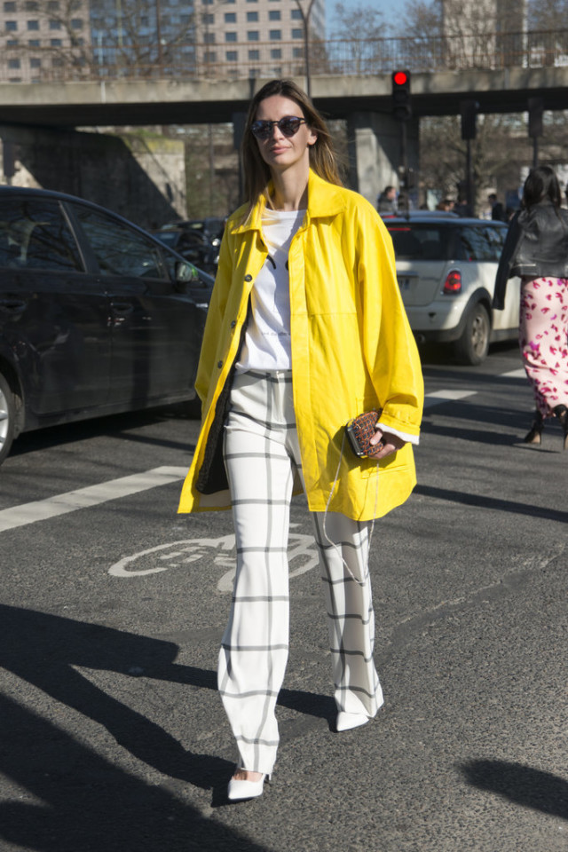 yellow-windowpane-prints-rain-coats-printed-pants-spring-via-popsugar