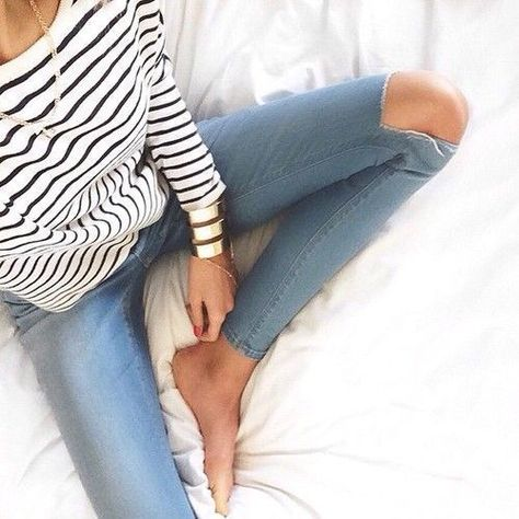 stripes, ripped jeans, necklace, weekend, casual, cuff, cfc