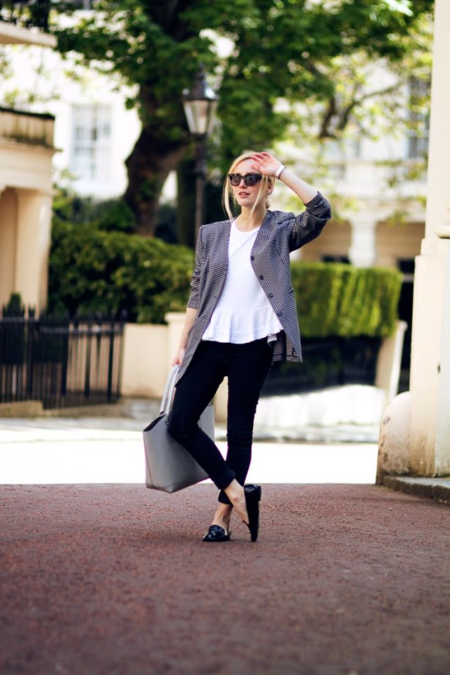 work, peplum, black skinnies, loafers, jacket, spring neutrals, work outfits