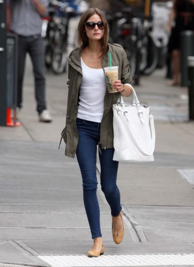 olivia palermo, weekend, skinny jeans, nude flats, army green jacket, white tote, sunglasses, weekend, spring, fall