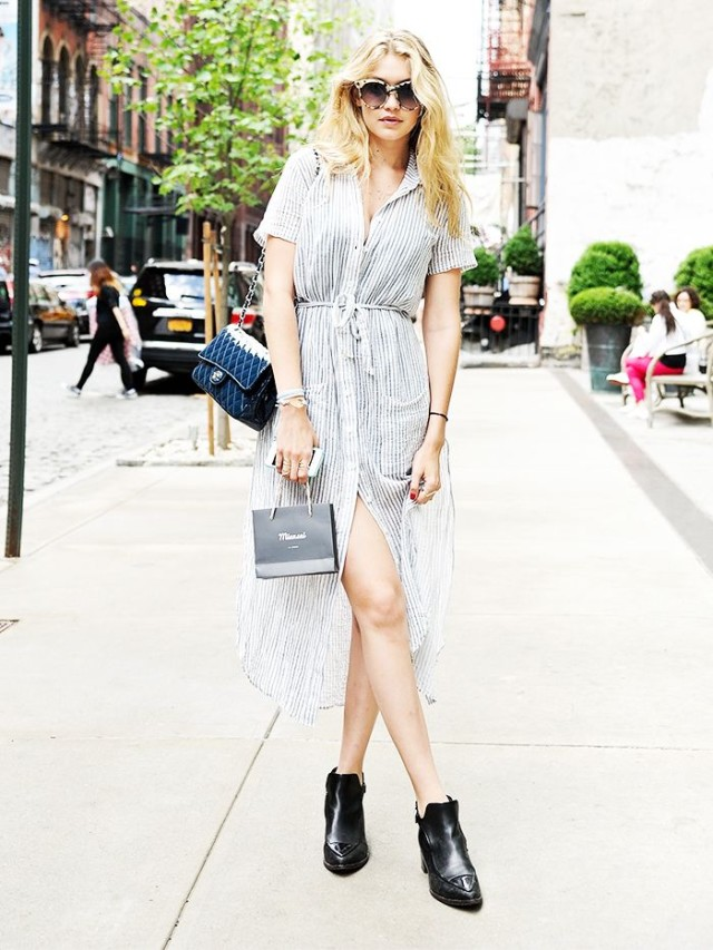 shirt dress, spring, ankle boots, chelsea boots, gigi hadid, brunch, work, night out, spring outfits