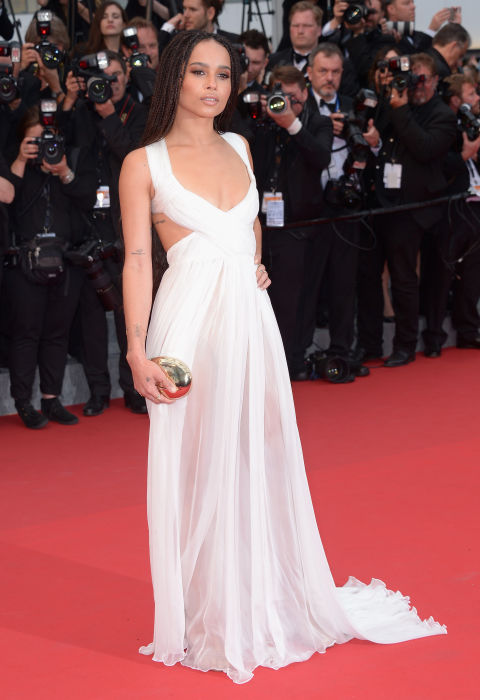 zoe kravitz, white gown, cutouts, sheer, cannes 2015, red carpet style, evening, black tie, evening gowns,