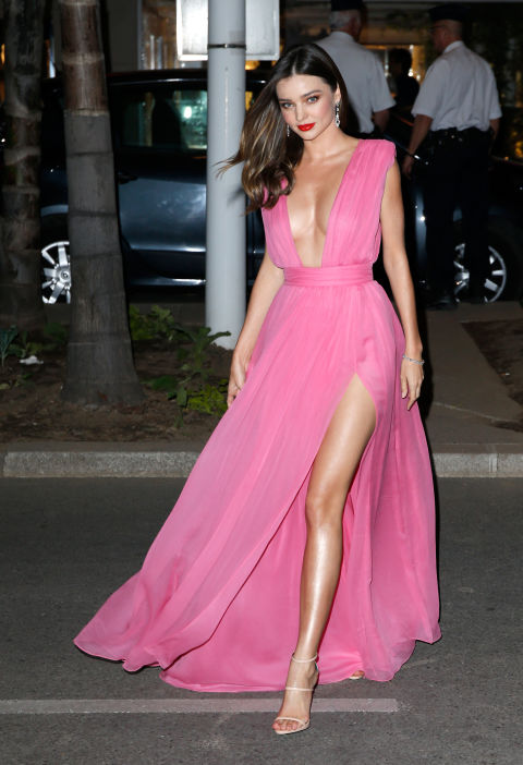 miranda kerr, slits, plungin neckline, pink dress, summer, cannes 2015, red carpet style, evening, black tie, evening gowns,