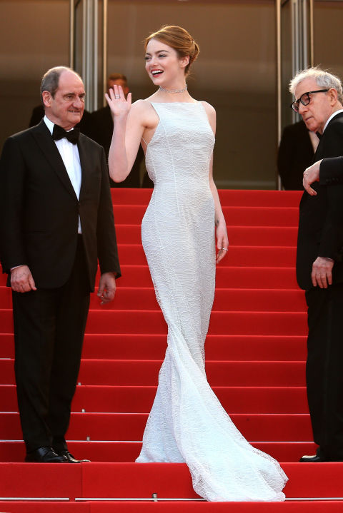 emma stone, 90s, chocker, white gown, backless gown, cannes film festival, red carpet, celeb style, gowns, evening gowns, black tie, celeb style