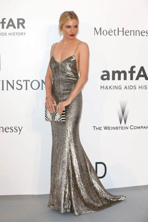 sienna miller, amfar, cannes, evening gown, black tie, special occasions, red carpet style