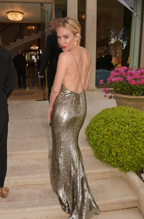sienna miller, backless gown, amfar, cannes, evening gown, black tie, special occasions, red carpet style