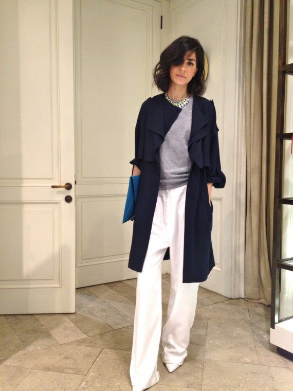 white wide leg pants, grey top, statement necklace, navy coat, spring coat, spring neutrals, work, weekend, white heels