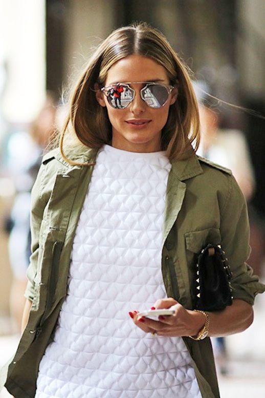 white quilted top, army green jacket, mirrored aviator sunglasses, clutch, spring, fall, olivia palermo