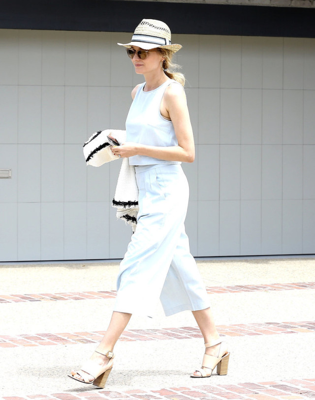 Diane-Kruger, cannes, matching set, culottes, crop top, pastel blue, stacked heel sandals, block heel sandals, hat, summer style, work style, going out, night out, cocktail party