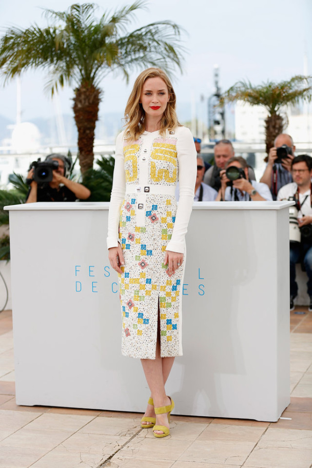 Emily-Blunt-cannes, lace midi dress