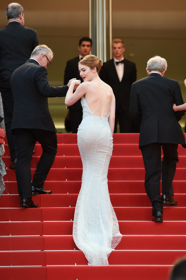 Emma-Stone-White-Dress-Cannes-Film-Festival-2015-cannes film festival, red carpet, celeb style, gowns, evening gowns, black tie, celeb style