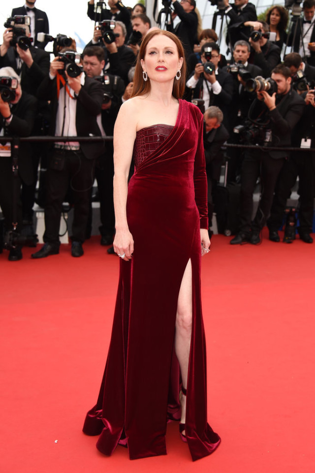 Julianne-Moore-1, cannes film festival, red carpet, celeb style, gowns, evening gowns, black tie, celeb style, holiday, burgundy, oxblood, velvet, one-shoulder, mixed material, slits