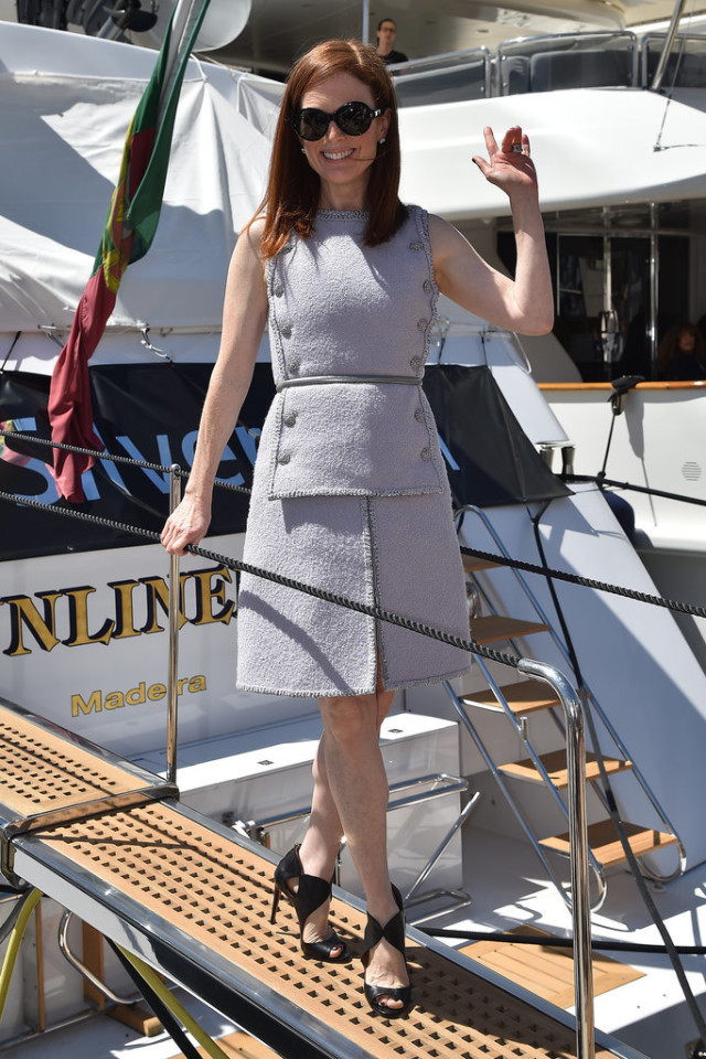 Julianne-Moore, chanel, sheath dress, lavender, work, daytime, wedding, brunch, spring, celeb style, cannes film festival, red carpet style, cocktail dresses, party, events, special occasions, weddings