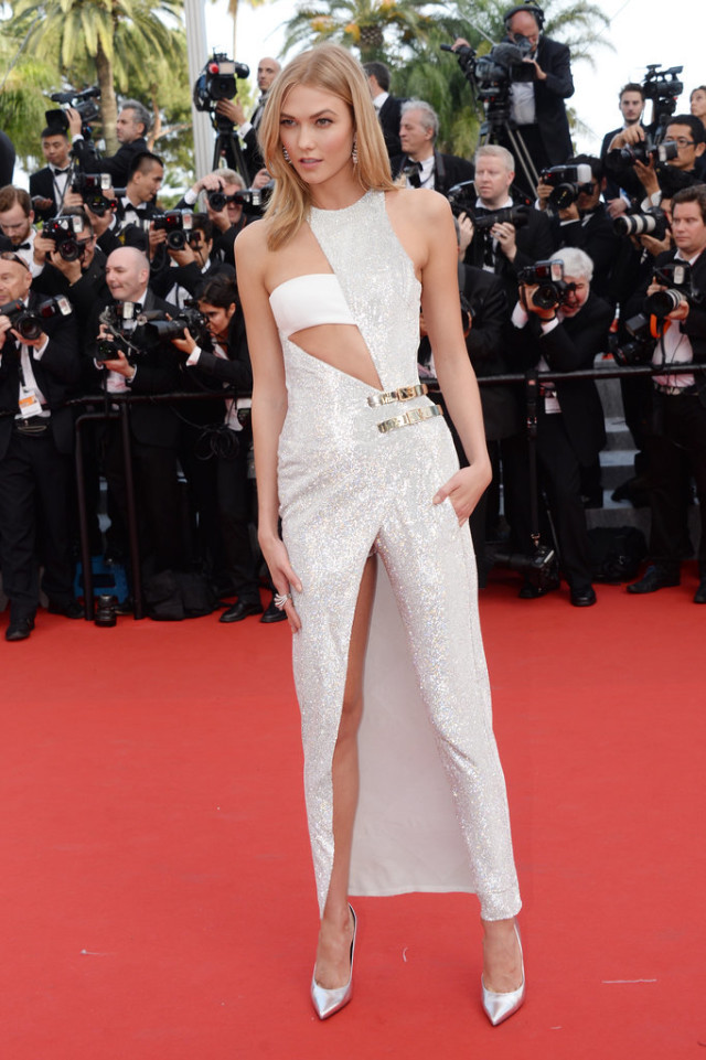 Karlie-Kloss, cannes 2015, red carpet style, evening, black tie, evening gowns, model style, cutouts, metallic, slits