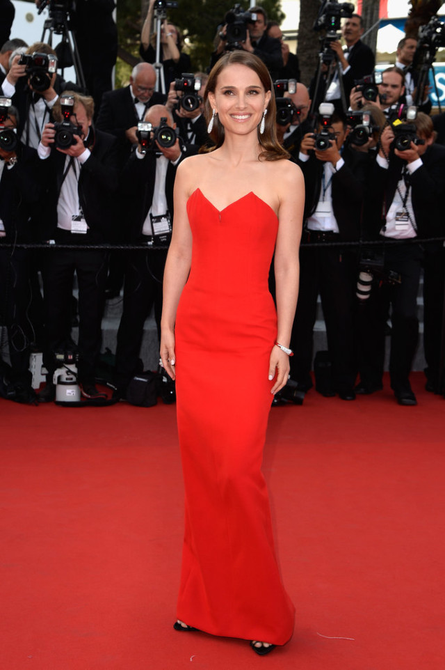 Natalie-Portman, red strapless gown, black tie, evening, cannes 2015, red carpet style, celeb style