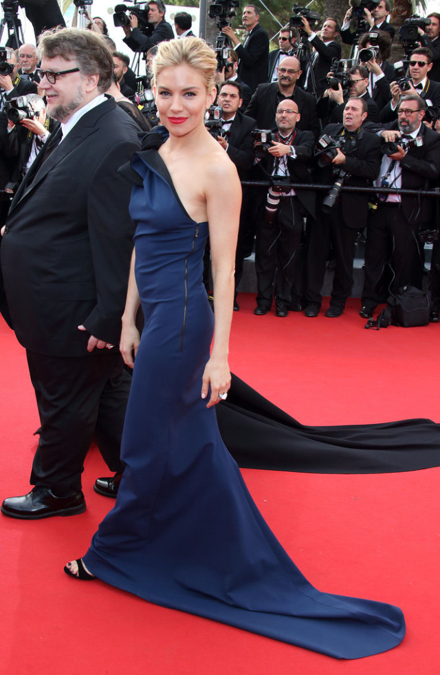 cannes 2015, red carpet style, celeb style, sienna miller, navy, one-shoulder gown, glamour
