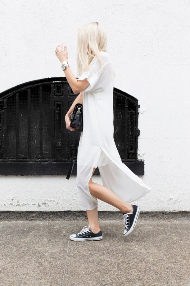 white dress, sneakers, converse, summer, spring, black and white