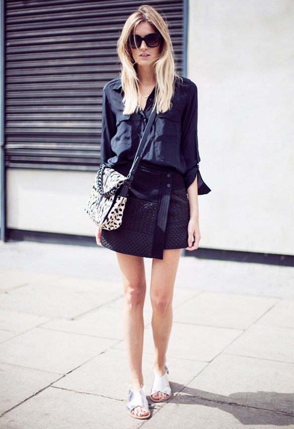 all-black-black-mini-skirt-shirt-sandals-metallic-silver-sandals-leopar-bag-summer-work-going-out-night-out-via-camille over the rainbow