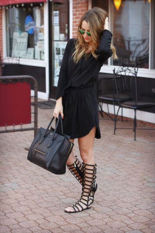 all-black-summer-work-weekend-brunch-shower-tall-gladiator-sandals-via-blog.styleestate.com
