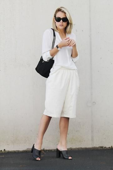 all-white-black-and-white-bermuda-shorts-summer-work-mules-via-stylecaster