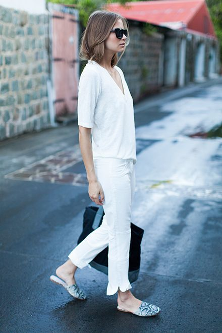 all-white-weekend-white-pants-cropped-pants-white-tee-mules-via-emersonfry.com