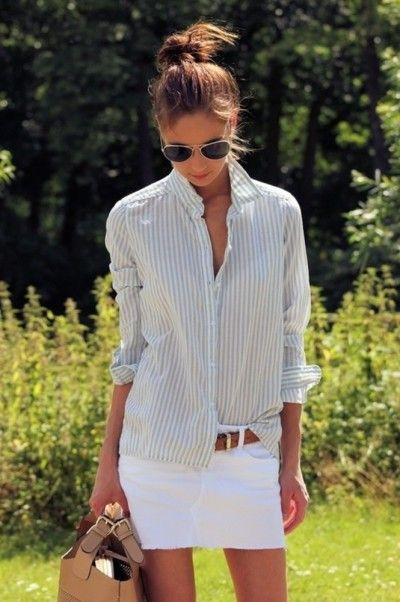 beach-lake-bbq-pool-white-mini-skirt-denim-skirt-striped-oxford-belt-summer-weekend-via-pinterest