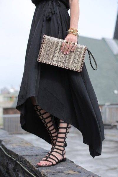 black dress, all black, tall gladiator sandals, clutch, snakeskin clutch, going out, party, night out, date