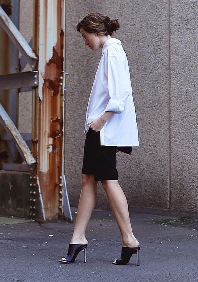 black-and-white-bermuda-shorts-oversized-short-sleeve-oxford-mules-via-thechroniclesofher