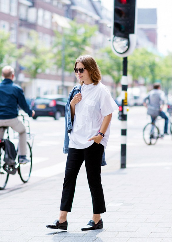 black-pants-white-oxford-loafers-summer-work-sunglasses-denim-jacket-via-www