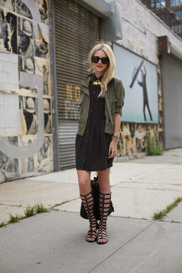 black-shirtdress-army-jacket-summer-work-tall-gladiator-sandals-via-diarychic.blogspot.com