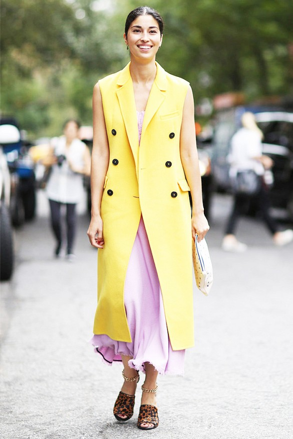 bubble-gum-pink-maxi-dress-leopard-print-mules-yellow-long-vest-pastels-summer-work-spring-shower-party-caroline-issa-via-imaxtree-www