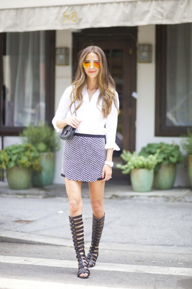 chevron-mini-skirt-white-oxford-shirt-going-out-date-night-tall-gladiator-sandals-via-somethingnavy.com